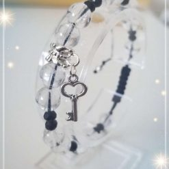 Natural Rock Crystal ( Birthstone of April ) with Key Charm Adjustable Bracelet