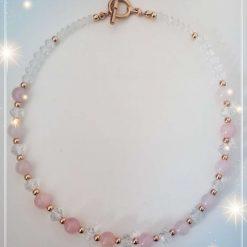 Natural Rose Quartz in Rose Gold necklace