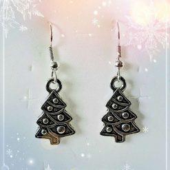 Antique Silver Christmas Tree Earrings