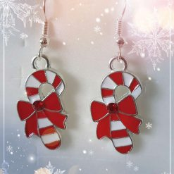 Enamel Christmas Crutch Earrings