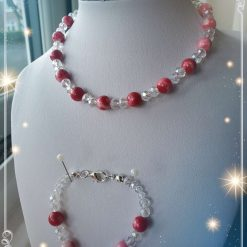 Gemstones gift set for girls, Persian Red Jade Necklace and Bracelet