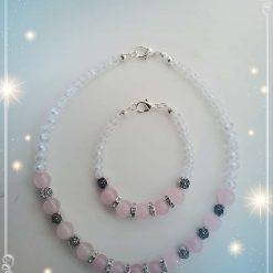 Natural Rose Quartz Crystal Necklace and Bracelet Children Gift Set