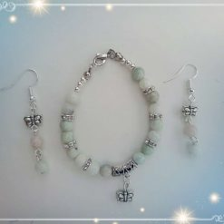 Natural Jade with Tibetan Butterfly Charm Children Bracelet and Earring Gift Set