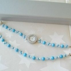 Turquoise and Crystal Watch and Bracelet