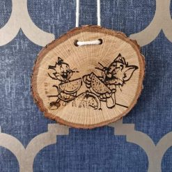 Oak wall hanging. Tom and Jerry oak plaque. Handmade