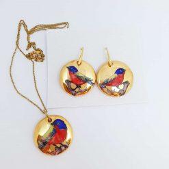 Porcelain / Ceramic Set / jewellery set / bird / bijoux / ceramics / Pottery / Jeweery Birds / Gifts / Earrings / Gold / jewelry gold
