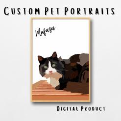 Custom Pet Portrait   Digital Download   Drawing from Photo   Digital Illustration