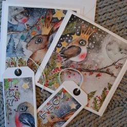 """❄Pack of 4 Greeting Cards & Gift Tags """" Christmas Night 1 """"🎄"""