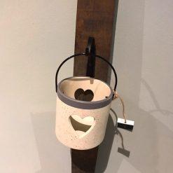 Solid Oak Grey Heart candle holder