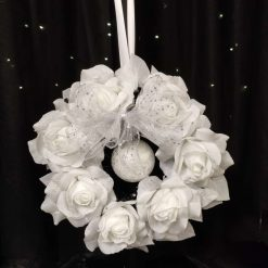 Artificial White Shimmer Rose Wreath