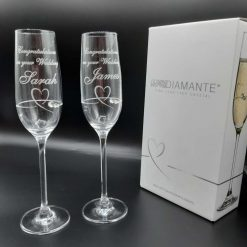 Personalised Diamante Crystal Petit Heart Design Champagne Flutes
