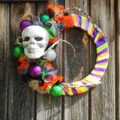 Funky Halloween Decor   Fun Skull Wreath   Halloween Wreath   Door wreath   Day of the dead   Halloween Decoration
