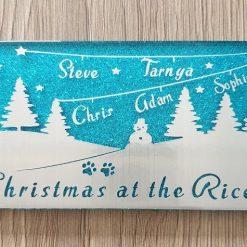 Christmas Scene Blue Tile