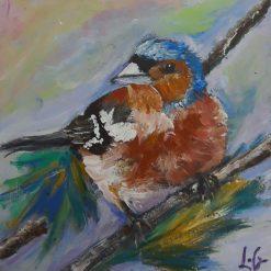 ORIGINAL BIRD ART-CHAFFINCH-ACRYLICS