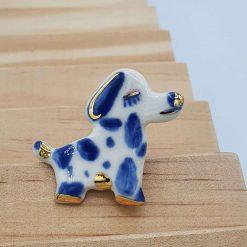 Brooch / Porcelain Brooches /  Porcelain / Porcelain Jewelry /  Pottery / Gold / ceramic / dog