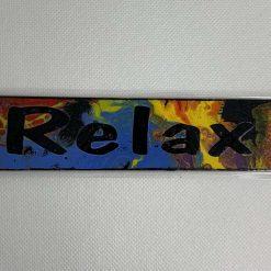 "Handmade multicoloured ""Relax"" bookmark"