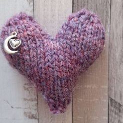 Hand knitted heart.  Pure Shetland wool. Purple with heart and moon charm. Home decor   Pocket hug.  Stocking filler