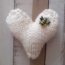 Hand knitted heart.  Pure Shetland wool. Cream with bee charm.  Home decor   Pocket hug. Stocking filler