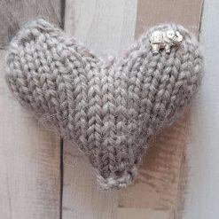 Hand knitted heart.  Pure Shetland wool. Grey with elephant charm..  Pocket hug.  Stocking filler