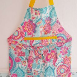 Apron with pocket.  Handmade in a bright boho print.  Fully lined. Gift.