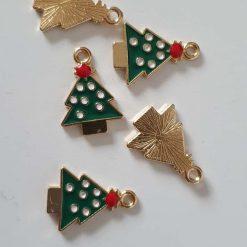 Alloy Enamel Christmas Tree Charms