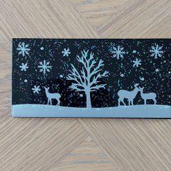 Deer Winter Scene Black Tile