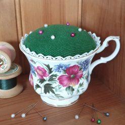 Floral teacup pincushion