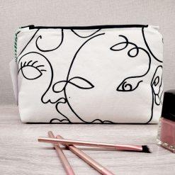 Handmade, Make Up Bag, Cosmetic Bag, Pencil Case. Black and white contemporary design Fabric