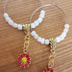 Red Daisy Hoop Earrings