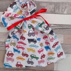 Gift bag.  Cars, tractors and lorries print fabric. Party bags. 20cms. Zero waste. Reuseable