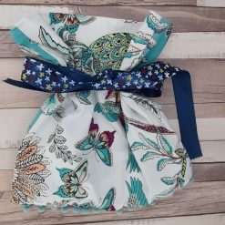 Gift bag.  Exotic fabric with butterflies, birds and pineapples.  28cms x30cms.  Zero waste. Reuseable