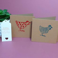 Set of 4 mini handprinted cards with chicken design.