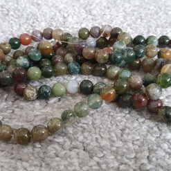 8mm Natural Indian Agate Round Bead Strands