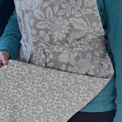 Apron. Handmade in a grey and white birds and leaves print fabric. Reversible.
