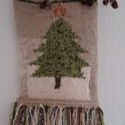 Boho wall art. Hand knitted home decor. Unique design. Tree with pine cone embellishment.