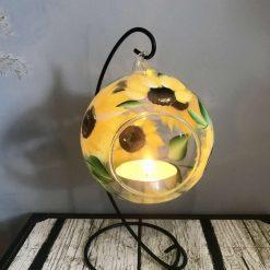 Tea Light Holder & Stand- Hand Painted- The Sunflower