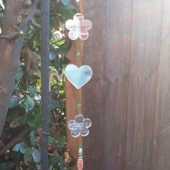 Handmade ,Flower, Heart, Mirror, Suncatcher, Pretty, Green, Crystal, Tribal ,Beads, Mobile, Garden, Hanging, mobile, Gift, Decoration.