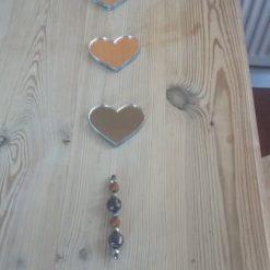 Handmade ,Heart ,Mirror, Suncatcher , Pretty, Sparkle, Beads, Mobile, Hanging, Garden, Gift, Decoration.