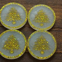 Resin Christmas Coasters, Set of 4, Gold Glitter Trees