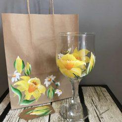 Gin Glasses Gin Glass wine glass- Daffodil and Daisy