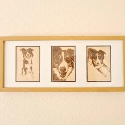 Pet Pyrography Portrait - 3 panel gift frame