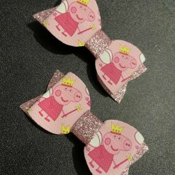 Peppa pig hair bow clip set