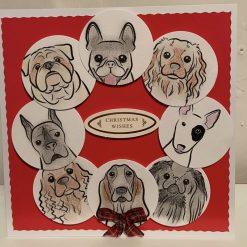 Large handmade dog lovers Christmas card