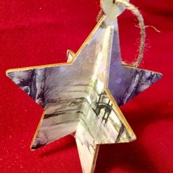 Hanging Wooden Star Snow Scene