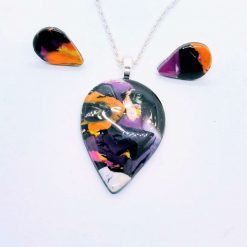 Teardrop pendant and earring set in black, pink, orange and yellow