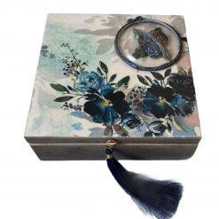 Handmade wooden jewellery box keepsake box blue flower decoupage Christmas Gift Secret Santa gift personalised (Copy)