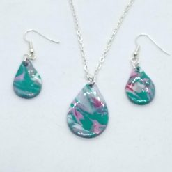 Swirly blue teardrop necklace set in pink, green, white and silver