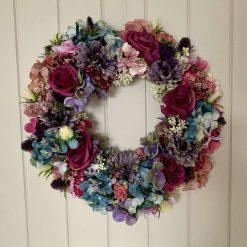 Pinks, purple & blue autumnal wreath
