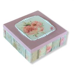 Handmade shabby chic Wooden Keepsake Box Jewellery Box with mirror Rosses Pink, Christmas gift for her