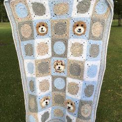 Teddy bear crochet cot blanket, blue, white, grey and random.